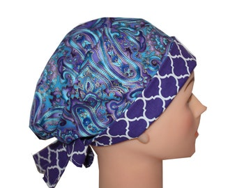 Scrub Hat Surgical Scrub Cap Chemo Hat Tie Back / Flirty Front Fold Pixie Style / Blue Purple Paisley Quatrefoil 2nd Item Ships FREE