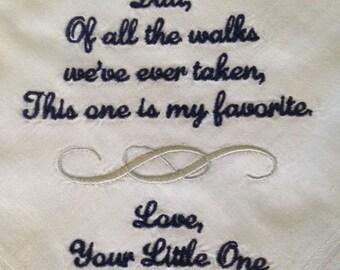 Father Handkerchief - Embroider handkerchief wedding - dad wedding handkerchief - personalize handkerchief