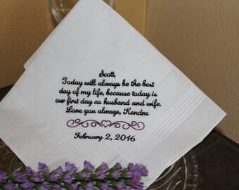 Gift for groom wedding hankerchief - embroidered wedding handkerchief