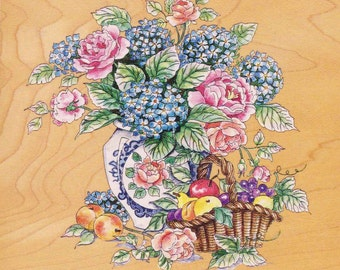 Large Wood Rubber Mounted Stamp FLORALS in VASE BASKET with Fruits  Hydrangeas and Roses from Years Ago Unused