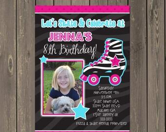 Roller Skating Invitation, Roller Skate Birthday Party Invite,  Zebra and hot pink skate invitation, photo invite, printable or printed