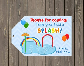 Splash Pad Party Favor Tag, Pool Party Water Fun Goody Bag Tags, Summer Party Favor Tags, Printable Thank you Tags