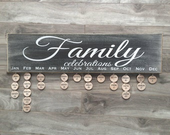 Family Celebrations sign - Birthday board