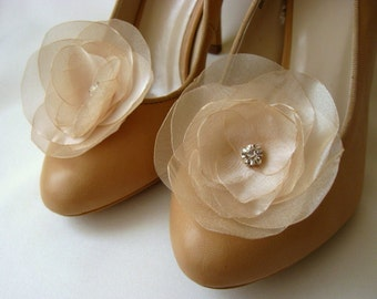 Ivory Shoe Clips with handmade flowers