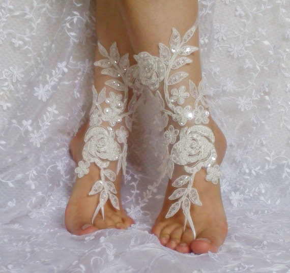 ivory beaded lace barefoot sandal beach wedding beadwork