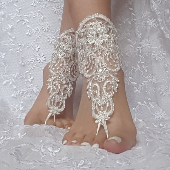 ivory silver  beaded lace barefoot sandal beach wedding
