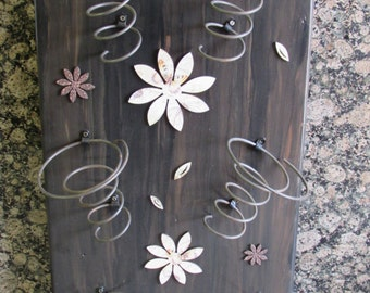 Wine Rack with Flower Accent