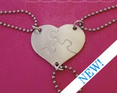 Blank Heart Shaped Puzzle Piece set of 3 Necklaces Hand Stamped NON-CUSTOMIZABLE - Bridesmaids - Best Friends - Hand Stamped