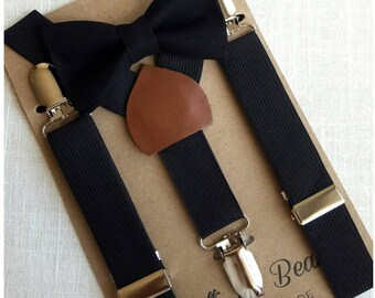 FREE SHIPPING!*...Newborn Bow Tie and Suspenders, Toddler Bow Tie and Suspenders, Black Bow Tie, Black Suspenders, Ring Bearer