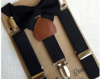 FREE U.S SHIPPIN...Newborn BowTie Suspenders, Toddler BowTie Suspenders, Men's BowTie Suspenders, Black Bow Tie, Black Suspenders