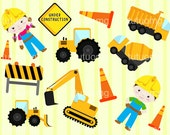 Construction Vehicles Clip Art for Personal and Commercial Use - INSTANT DOWNLOAD - cement mixer, construction worker, excavator, tractor