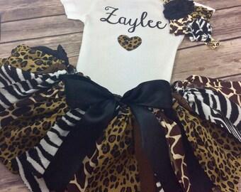 Personalized Jungle Safari Zoo Birthday Outfit - Onesie / Shirt, Fabric Tutu & Headband, Cheetah, Leopard, Giraffe, Zebra, Black / Brown