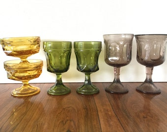 Mix & Match Pressed Glass Goblets