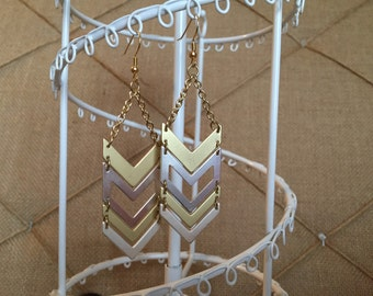 Silver and Gold Chevron Dangle Earrings