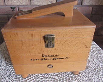 Vintage Ronson Roto-Shine Magnetic Shoe Shine Box.