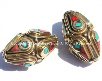 2 beads - Ethnic Tibetan Brass Beads with Turquoise & Coral Inlays - Nepal Tibetan Thick Brass Bicone Inlaid Handmade Beads - B2001-2