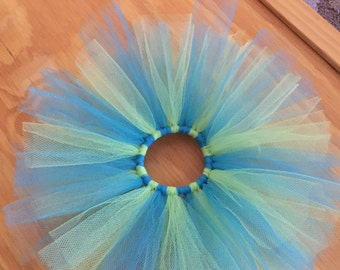Tutu Hair Tie- lime green and blue (4 inches)