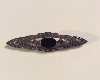 Vintage Sterling Marcasite and Onyx Ladies Pin