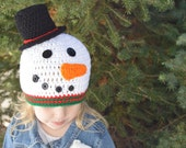 Crochet Snowman Hat, Kids Winter Hat, Christmas Beanie, Toddler Christmas Hat, Newborn Photography Prop, Winter Infant Hat, Knit Christmas
