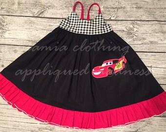 Disney Inspired Appliqued Cars Lightning McQueen Hummingbird Style Dress sizes 1-12