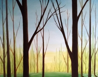 The Pond. 12x16. Oil on Canvas. Free Shipping. Nature Art. Landscape Art.