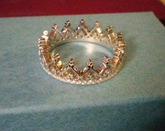 Ornate Cz Crown Ring