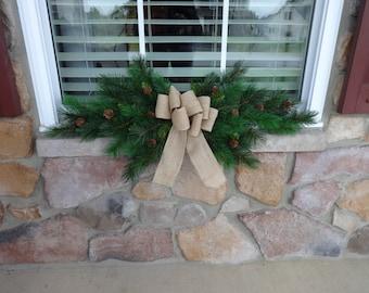 Window Swag, Christmas Swag, Christmas Decoration, Window Garland, Window Wreath, Christmas Wreath, Outdoor Christmas