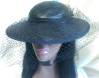 Vintage Veiled Straw Hat, Wide Brim, Church or Funeral Services, Kentucky Derby, Women's Elegant Head Covering