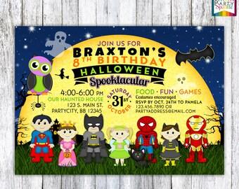 Super Hero and Princess - Kids Halloween Birthday Costume Party Invite - Personalized Digital Custom Party Invitation 4x6 or 5x7 jpg or pdf