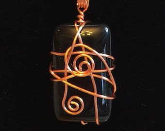 Pendant - Black and Copper Wire Wrapped Pendant - FREE SHIPPING