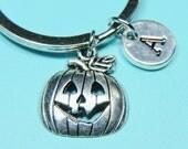 Pumpkin Charm Keychain, Pumpkin Key ring, Pumkin charm, Halloween Jewelry, Initial Keychain, Personalized Keychain, Custom Keychain