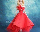 red satin cocktail dress for Silkstone Barbie by SL Doll Fashion