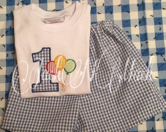 Birthday boy outfit- applique tee and handmade shorts- customize your colors
