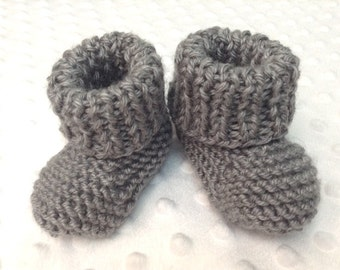 Gray Baby Booties • Gray Baby Shoes • Gray Baby Slippers • Gray Crib Shoes • Pregnancy Announcement Gift/Prop