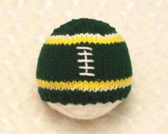Green Football Baby Hat - Green Yellow Baby Hat - Green Yellow Football Hat - Green Yellow Baby Hat - Newborn Football Hat