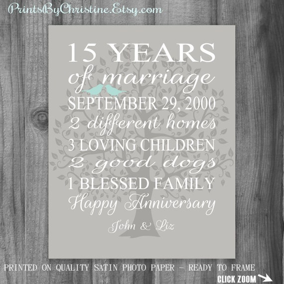 15th Anniversary Gift Wife Anniversary Gift By