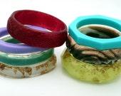 Mystery Bag! Resin Bangle Bracelet - Handmade Eco-Resin Bracelet, Surprise Color & Style