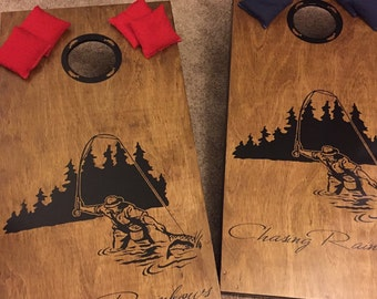 Trout Fly Fishing Cornhole Boards-Stickers- Decals-Bean Bag Toss-Wraps- Custom Cornhole Decals-Vinyl Decals-Bean Baggo