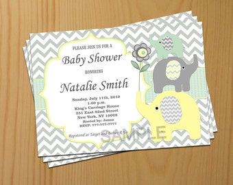 Neutral Baby Shower Invitation Boy Girl Elephant Baby Shower Invitation Green Yellow (88) - Free Thank You Card - Instant Download