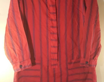 Vintage 50s Red Striped Shirtdress