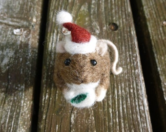 Handmade Needle Felted Brown Chris Mouse Christmas decoration/ ornament