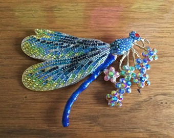 Huge Vintage Rhinestone Crystal Dragonfly Brooch, 4.5 inches!!!