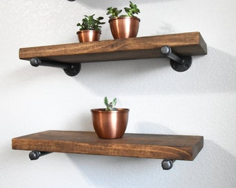 "Farmhouse Industrial 10"" Deep Floating Wall Shelf with pipe brackets.  Rustic Wood Floating shelve. Industrial Rustic decor."
