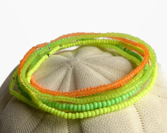 7 seed bead bracelets, neon bracelet, stretch bracelet set, yellow green orange, beaded bracelet