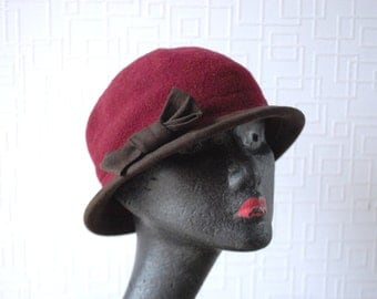 BURGUNDY WOOL hat ~ Wool cloche hat ~ Burgundy cloche hat ~ Fall hat~ 100% wool ~ Winter hat ~ Warm hat