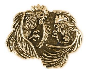Fighting Roosters Belt Buckle Hand Cast Yellow Bronze Mens Jewelry EA3-BKBZ