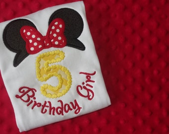 "Minnie Mouse Ears ""Birthday Girl"" Shirt or Onesie"