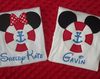 Family Vacation Shirts- Disney Cruise- Mickey or Minnie Life Preserver