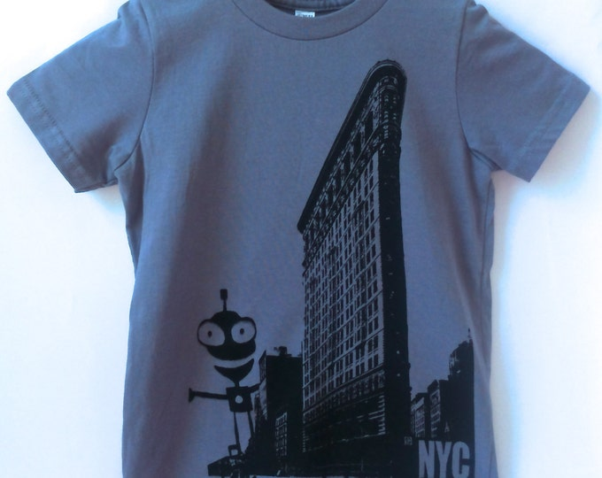 Short sleeve Kid, Flatiron with alien design - FREE shipping