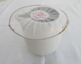 Antique / VIntage Baby Blue & Pink Ribbon and Net Wired Milk Jug Cover